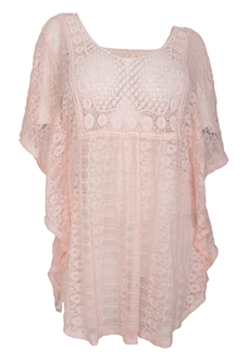 Plus Size Sheer Crochet Lace Poncho Top Baby Pink 19618