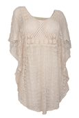 Plus Size Sheer Crochet Lace Poncho Top Ivory 19618
