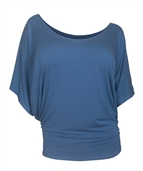Plus Size Dolman Sleeve Top Denim Blue