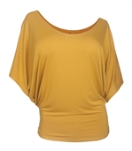Plus Size Dolman Sleeve Top Mustard