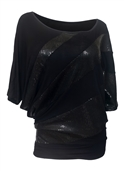 Plus size Sequin Detail Diagonal Hem Scoop Neck Top Black 191027