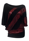 Plus size Sequin Detail Diagonal Hem Scoop Neck Top Red 191027