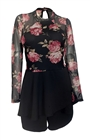 Plus size Lace Overlay Romper Dress Black Floral Print 191031