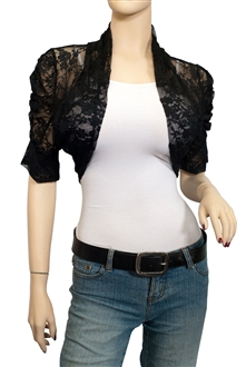 Plus Size Floral Lace Bolero Shrug Black