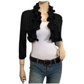 Plus size Cropped Ruffled Shawl Shrug Bolero Black