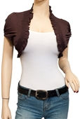 Jr Plus Size Smocked Edge Cropped Bolero Shrug Brown
