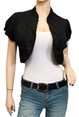 Jr Plus size Cotton Open Front Cropped Bolero Shrug Black