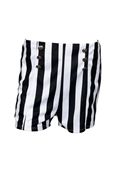 Plus size Silver Button Detail Stripe Print Short Black
