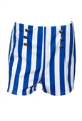 Plus size Silver Button Detail Stripe Print Short Blue