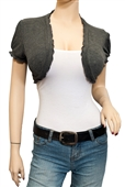 Jr Plus size Ruffled Trim Open Front Cropped Bolero Shrug Gray