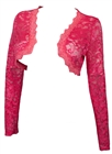 Plus Size Long Sleeve Lace Cropped Bolero Shrug Pink