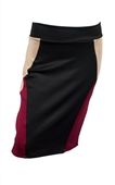 Plus Size Color Block Skirt Burgundy