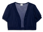 Plus Size Sheer Cropped Bolero Shrug Navy Blue