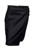 Plus Size Faux Leather Irregular Zip Skirt Black
