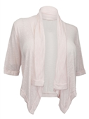 Plus Size Shawl Collar Striped Cropped Cardigan Baby Pink