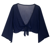 Plus Size Sheer Front Tie Bolero Shrug Navy