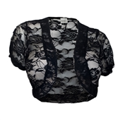 Plus Size Floral Lace Sheer Cropped Bolero Shrug Black