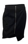 Plus Size Zipper Front Mini Skirt Black
