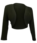 Plus Size 3/4 Sleeve Cropped Bolero Shrug Olive