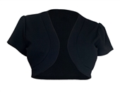 Plus size Open Front Short Sleeve Bolero Black