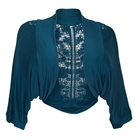 Plus Size Floral Laced Back Cropped Bolero Shrug Teal