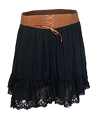 Women's Lace Hem Chiffon Mini Skirt Black
