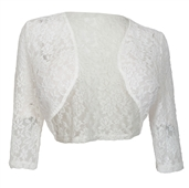 Women's Open Front Sheer Lace Bolero Shrug White