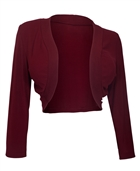 Women's 3/4 Sleeve Cropped Bolero Shrug Burgundy