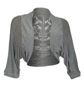 Plus Size Floral Laced Back Cropped Bolero Shrug Gray