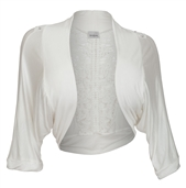 Plus Size Floral Laced Back Cropped Bolero Shrug Off White