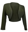 Plus Size 3/4 Sleeve Cropped Bolero Shrug Olive Green