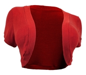 Plus Size Cropped Bolero Shrug Red