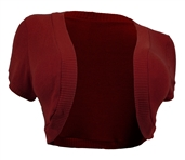 Plus Size Cropped Bolero Shrug Burgundy