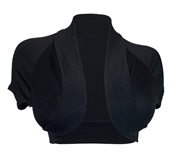 Plus Size Open Front Cropped Bolero Shrug Black2