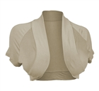 Plus Size Open Front Cropped Bolero Shrug Khaki2
