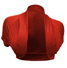 Plus Size Open Front Cropped Bolero Shrug Red2