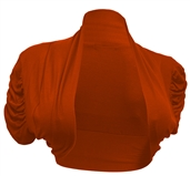 Plus size Ruched Sleeves Cropped Bolero Shrug Coral