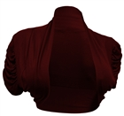 Plus size Ruched Sleeves Cropped Bolero Shrug Burgundy