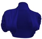Plus size Ruched Sleeves Cropped Bolero Shrug Navy