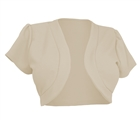 Plus size Open Front Short Sleeve Bolero Khaki