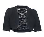 Plus size Open Front Sheer Lace Back Bolero Black
