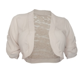 Plus size Open Front Sheer Lace Back Bolero Khaki