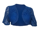 Plus size Open Front Floral Lace Overlay Bolero Blue