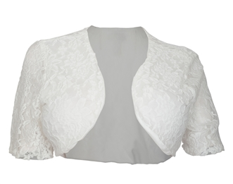 Plus size Open Front Floral Lace Overlay Bolero White