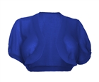 Plus size Sheer Open Front Bolero Shrug Blue