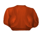 Plus size Sheer Open Front Bolero Shrug Orange