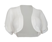 Plus size Sheer Open Front Bolero Shrug White