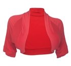 Plus size Open Front Short Sleeve Bolero Shrug Pink