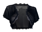 Plus size Lace Trim Sheer Bolero Black