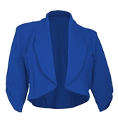 Plus Size Open Front Cropped Jacket Royal Blue